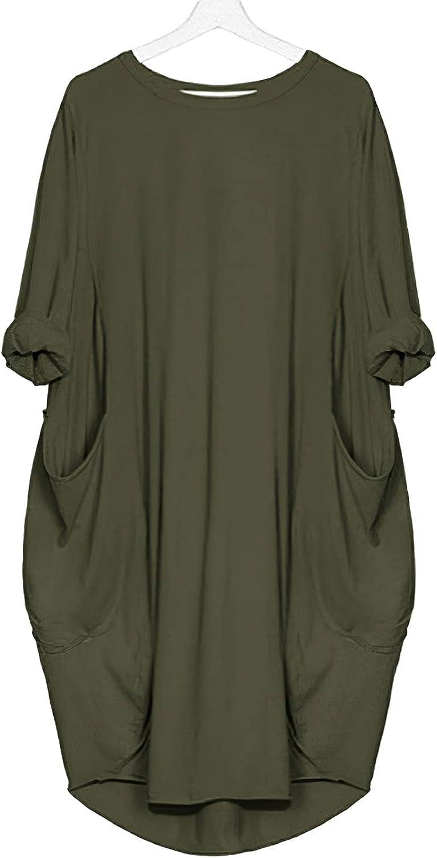 Akivide Women's Oversized Pocket Long Sleeve Dress Casual Loose Plus Size Tunic Dress