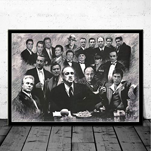 SLFWCLH Poster E Stampe Gangster Padrino Quei bravi Ragazzi Dipinti su Tela Quadri su Tela Soggiorno Decorazioni per la casa 50 × 70 cm Senza Cornice
