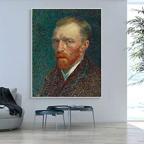 Flduod gedrukte meesters Vincent van Gogh portret reputatie olieverfschilderij op canvas kunst aan de muur foto voor woonkamer slaapkamer40x50cm