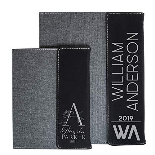Personalized Portfolio Padfolio Black LeatherGray Canvas Business Portfolio Organizer Folder Custom Notepad Holder for Resume Professional Business Gifts with 2 Sizes - 7 Designs