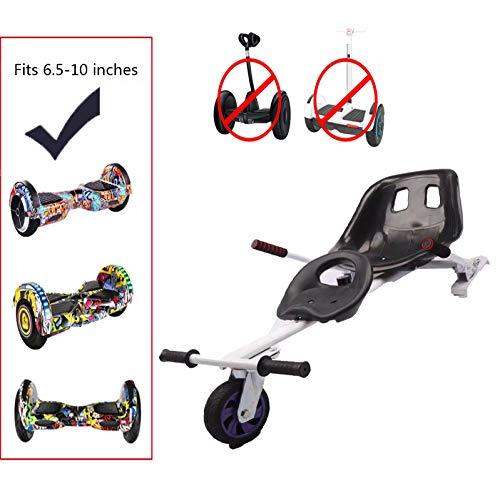 Hoverkart, Selbstausgleichendes Rollerzubehör, Go Kart Für Selbstausgleichende Elektroroller Verstellbarer Schwebesitz Hoverboard Zubehör Für Erwachsene Kinder,White-2seat