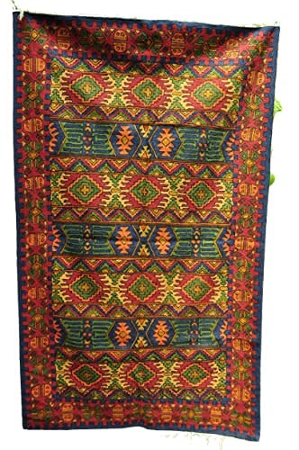 Kotsa | Seidenteppich | Kaschmiri Teppich | Handgemachter Seidenteppich | Geometrischer Teppich | Teppich für Schlafzimmer | Bodenteppich | Fliesenteppich | KC18