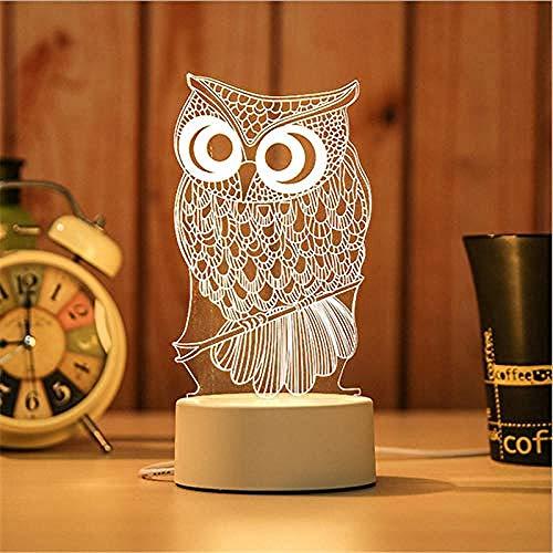 wangzj owl Luces de noche Luces de interior Lámpara de noche Luces de habitación 3D USB Luz de noche Navidad Regalo de cumpleaños led