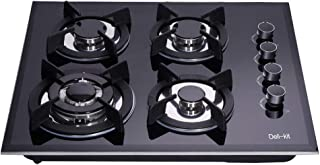 Deli-kit DK145-A01S 24 inch 4 Burners gas cooktop gas hob stovetop LPG/NG Dual Fuel 4 Sealed Burners Kitchen Slope Edge Tempered Glass Built-in gas Cooktop 110V AC pulse ignition Natural Gas