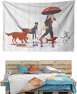 HuaWuChou Girl with Dogs in Rain Tapestry Wall Hanging, Art Tapestry Wall Decor for Bedroom Living Room College Dorm, 92.5W x 70.9L Inches