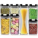 SUXNOS - Set di 7 contenitori salvafreschezza in plastica, senza BPA, ermetici per la conservazione di pasta, cereali, riso, farina, e per cibo per animali domestici