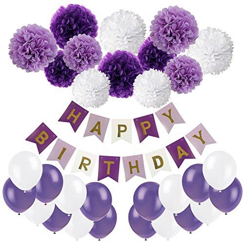 Recosis Geburtstag Party Dekoration, Happy Birthday Wimpelkette Banner Girlande mit Seidenpapier Pompoms und Luftballons für Mädchen und Jungen Jeden Alters - Violett, Lavendel und Weiß