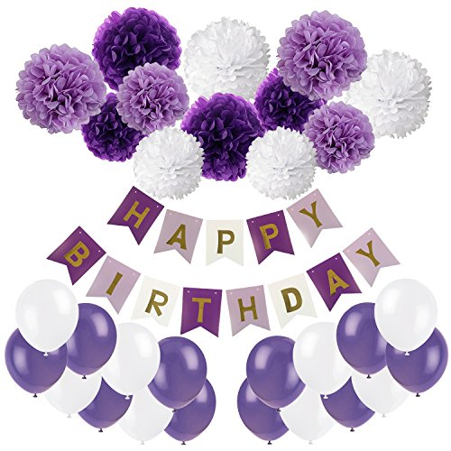 Recosis Happy Birthday Banner, Birthday Bunting Paper Garland with 12pcs Tissue Paper Pom Poms and 20pcs Balloons for Birthday Party Decorations - Purple, Lavender and White
