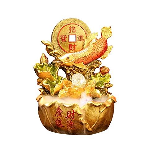 Fuente de interior Fuente de escritorio China Golden Fluyendo Adornos de agua Creativa Lucky Flowing Fountain Decoración - Para la sala de estar decoración de la oficina Fuente interior