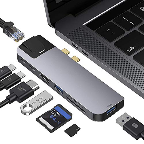 Xflelectronic Docking Station For MacBook Pro,USB C Multiport Hub USB Adapter Dongle With 4K HDMI Port, Gigabit Ethernet, 2 USB, TF/SD Card Reader, USB-C 100W PD And Thunderbolt 3