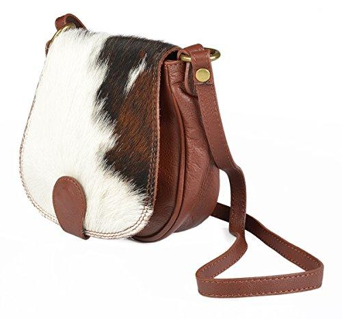 Damen Handtasche aus Kalbsleder - Mit Fellbesatz - Schultertasche - Kuhfelltasche - Trachtenaccessoir