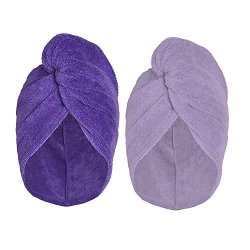 Turbie Twist Super Absorbent Microfiber Hair Towel Wrap - Hands Free Hair Drying Towel - 2 Pack (Light Purple, Dark Purple)