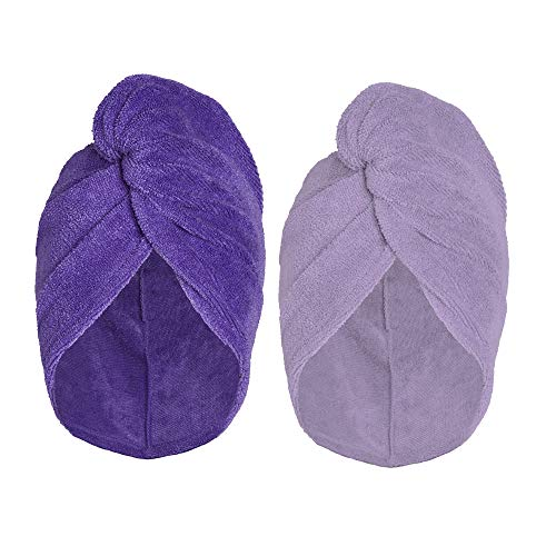 Turbie Twist Super Absorbent Microfiber Hair Towel Wrap AS SEEN ON TV (2 Pack) Light Purple - Dark Purple