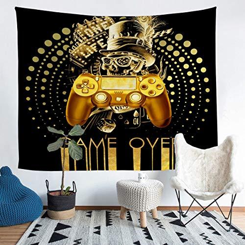 Homewish Gamer Tapiz de Gamer, Tapices de calavera gótica, Gamepad dorada, manta de juegos para colgar en la pared, decoración de dormitorio, mantel, colchas grandes de 58 x 79