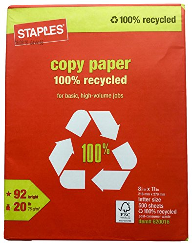 Staples 100% Recycled Copy Fax Laser Inkjet Printer Paper, Bright White, 500 Sheets