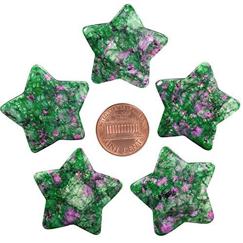 mookaitedecor Juego de 5 piedras de palma con forma de estrella, piedra de preocupación pulida para equilibrio de chakras de Reiki, joyería, decoración del hogar, rubí en fucsia