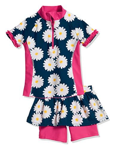 Playshoes Mädchen Badebekleidungsset UV-Schutz Bade-Set Margerite, Blau (Marine 11), 98 (Herstellergröße: 98/104)