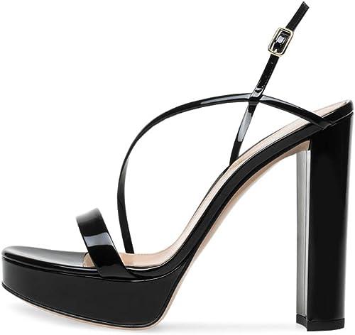 Hauszapatos Moda Tacón Escarpín Sandalias, MWOOOK-980 Sexy Peep Toe Tacon Ancho Correa de Tobillo Boda Vestir zapatos