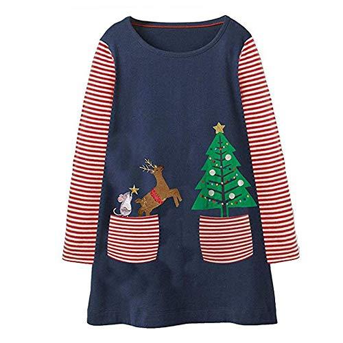 B-commerce 2019 Neue Mode Kleinkind Mädchen Toddler Kids Baby Girls Princess Christmas Dress Cotton Striped Clothes Streifen Kurzarm Baumwolle T-Shirt Kleid 1-7 Jahre