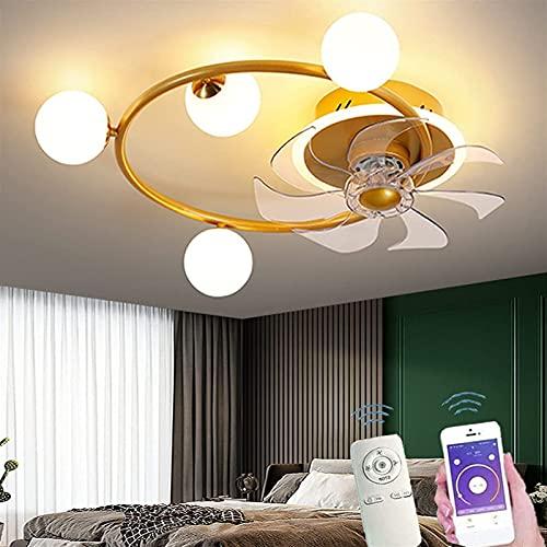 Ventilador de techo con luces, Lámpara de techo tranquila de anillo moderno con ventilador, aplicación y control remoto 3 Color Cambiable y 3 Velocidad de viento para sala de estar Habitación