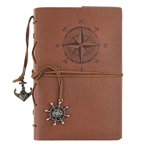 Liying Retro Skizzenblock Tagebuch Notizbuch Softcover DIN A5 Kraftpapier Blanko Geschenkbucher Reisetagebuch Braun