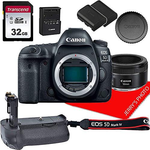 Canon EOS 5D Mark IV Full Frame DSLR Camera w/Canon EF 50mm f/1.8 STM Prime Lens + Power Grip + 32GB Memory Bundle (9pcs)