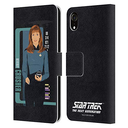 Head Case Designs Licenciado Oficialmente Star Trek Trituradora de Beverly Personajes icónicos TNG Carcasa de Cuero Tipo Libro Compatible con Apple iPhone XR