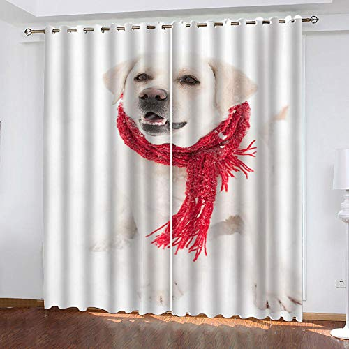 MENGBB Blackout Curtain for Kids Girls Microfiber 90x71 inch Snow animal puppy Thermal Insulated 95% Blackout Kitchen Bedroom Living Room Window Eyelet Curtains