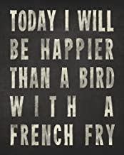 Keep Calm Collection Bird with A French Fry, archival Print (Charcoal)