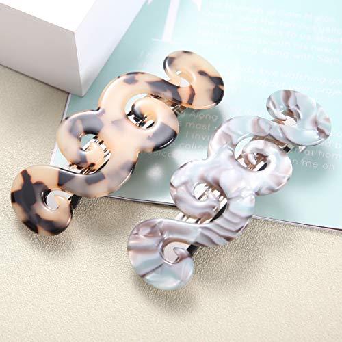 2stk Französisch Wirbel Schildpatt Haarspange Zelluloid Acetat Haarnadeln Automatisch Haarspangen Mittelgroß Haarclips Für Damen