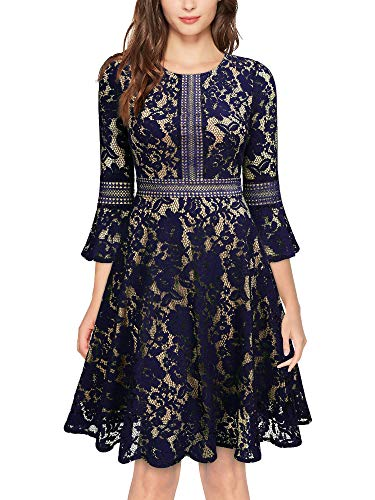 MISSMAY Women's Vintage Full Lace Contrast Bell Sleeve Big Swing A-Line Dress, Medium, Navy Blue
