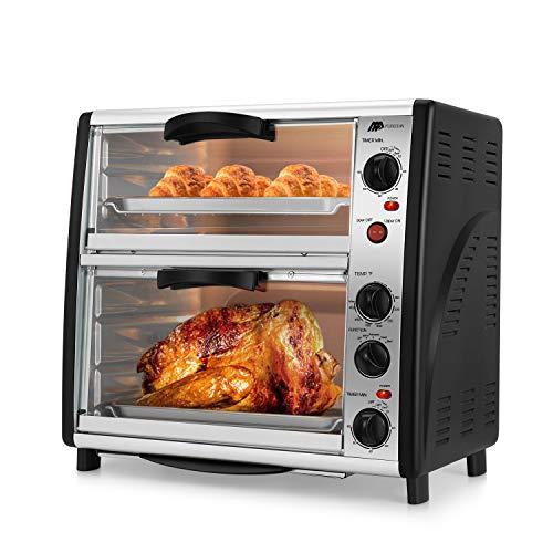 Flexzion Horno tostador de encimera – Máquina de cocina eléctrica de doble puerta grande de 46 cuartos para asado de pollo pizza con horno asado tostadas con temporizador de control de temperatura de 1800 W