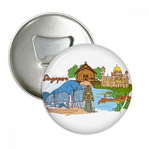 Sinapore Flavor Safari Museum kathedraal ronde fles opener koelkast magneet pinnen badge knop gift 3 stks