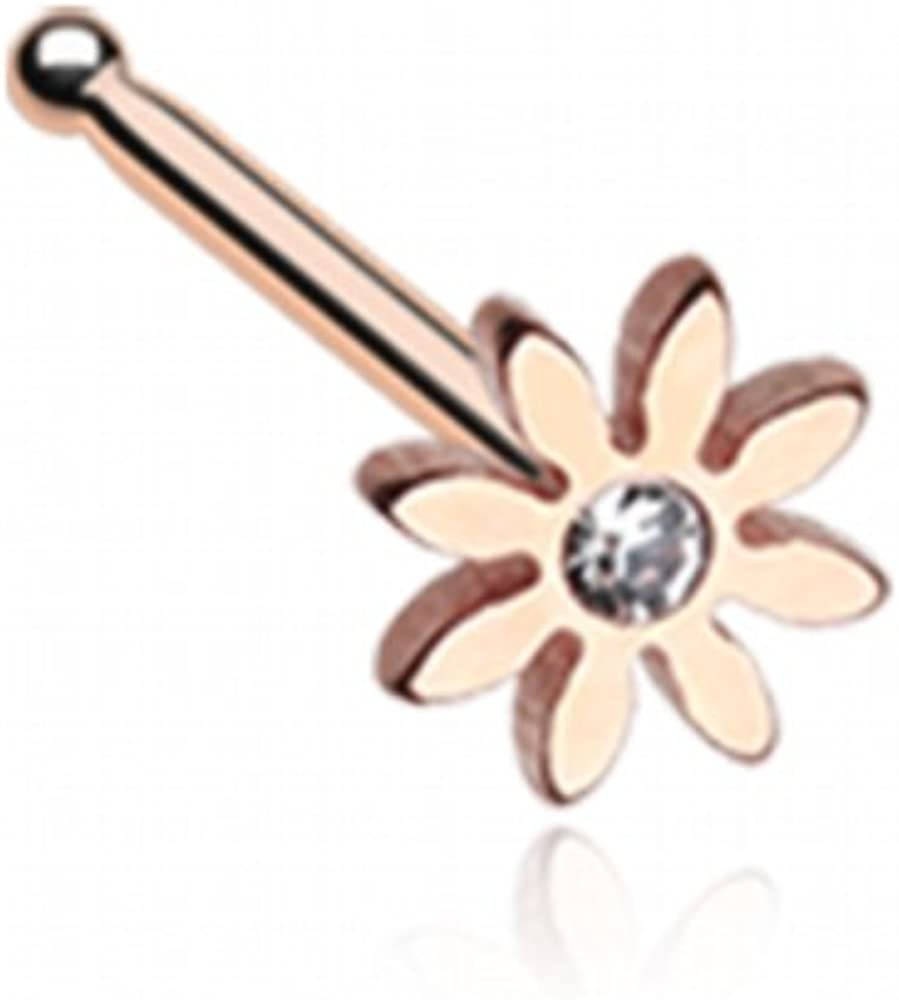 WildKlass Jewelry Golden Cutesy Daisy Flower Sparkle Nose Stud Ring 316L Surgical Steel