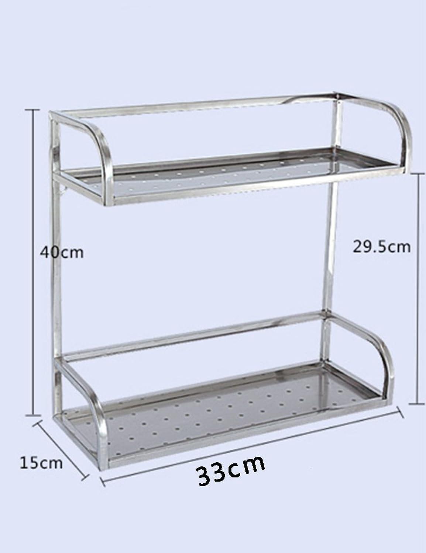 Stainless Steel Kitchen Racks Spice Rack Seasoning Rack 2 Layer Condiment Storage Shelf Kitchen Kitchenware Finishing Rack (Size   33cm)