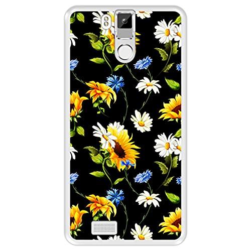 Hapdey silikon Hülle für [ Oukitel K6000 Pro ] Design [ Blumenmuster, Bunte Blumen 2 ] Transparenz Flexibles TPU