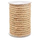 15M Cuerda de Yute Gruesa Cuerda cáñamo 10mm,Natural Rollo de Cordel Yute para Embalaje,decoración, jardinería