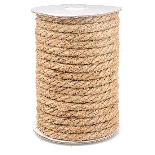 15M Cuerda de Yute Gruesa Cuerda cáñamo 10mm,Natural Rollo de Cordel Yute para Embalaje,Decoración,Jardinería