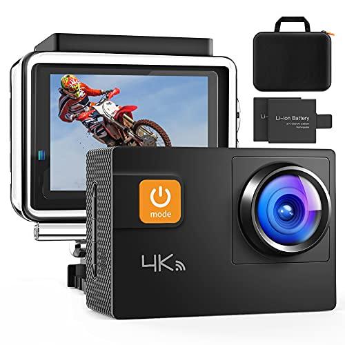 Action Cam, 4K 60FPS Touch Screen Fotocamera 20MP WiFi Ultra HD Videocamera Impermeabile a distanza 40M 8XZoom Fotocamera Subacquea Gyro Stabilizzazione Borsa Fotografica 2x1350mAh Batteria