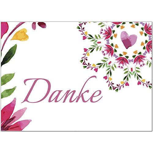 15 x Dankeskarten mit Umschlag - Blumenmuster Aquarell rosa rot floral - Danksagungskarten, Danke sagen, nach Hochzeit, Geburt, Baby, Taufe, Geburtstag, Kommunion, Konfirmation, Jugendweihe