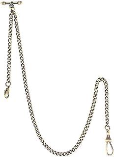 Pocket Watch Albert Vest Chain with T Bar & Lobster Clasps, ManChDa Watch Chain Curb Link Chain & Pocket Watch Stand(Bronze)