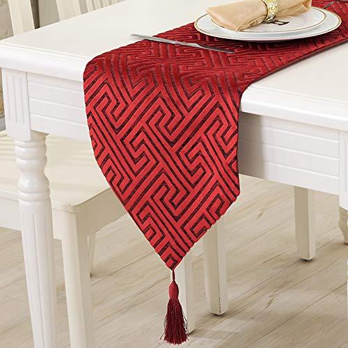 Jiaquhome Table Runner Vintage Nylon Jacquard Runner Table Cloth con Borlas Cutwork Bordado Table Runner