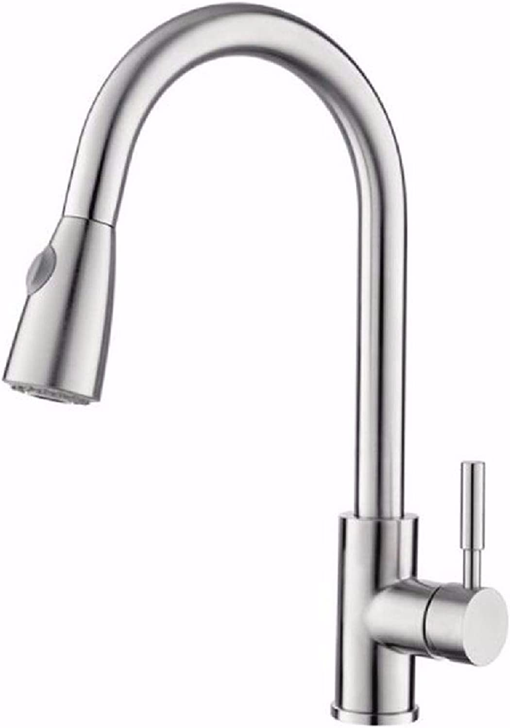 Stainless Steel Kitchen Faucet Pull-Type hot and Cold redating Lead-Free Brushed Sink Faucet A