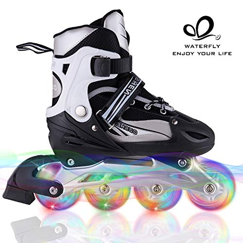 WATERFLY Inliner für Kinder Verstellbar Inline Skates LED Rollschuhe mit All Light Up Wheels Fun Flashing Inliner Jugendliche Anfänger M (EU 35-38)