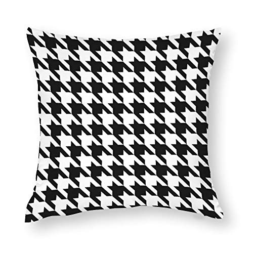 Black and White Houndstooth Cotton Throw Pillow Covers Case Cushion Pillowcase with Hidden Zipper Closure for Sofa Bench Bed Home Decor 22'x22'