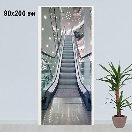 SHIRT-TO-GO Türklebefolie-Dekorfolie für Türen selbstklebender Folienaufkleber 90x200 cm - Motiv Rolltreppe