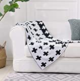 Black and White Throw Blanket Swiss Cross Pattern 100% Cotton Knitted (43x51 Inches, Swiss Cross) 40' X 50'