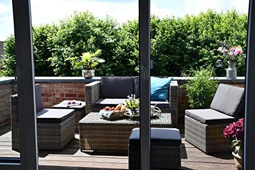 Outzone EntspannDich Lounge-Gruppe, Balkonset, Lounge-möbel-Set hervorragend verstaubar, Garten-möbel-Set Poly-Rattan, für Garten, Balkon und Terrasse, Anthrazit