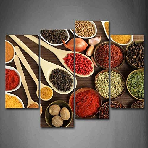 Modulair bedrukt op canvas specerij verzamelen in tafel stukken muur kunst schilderij foto voor keuken decoratie 30X60Cmx2 30X80Cmx2 geen frame