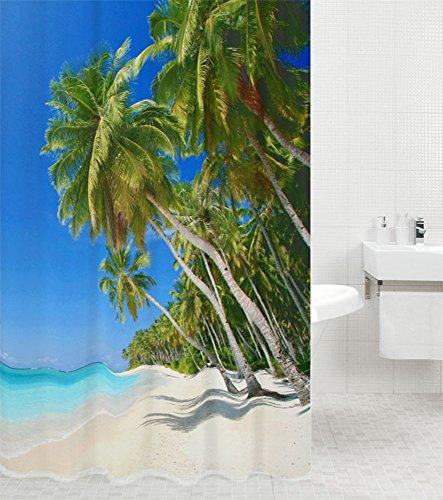 Duschvorhang Karibik 180 x 200 cm, hochwertige Qualität, 100prozent Polyester, wasserdicht, Anti-Schimmel-Effekt, inkl. 12 Duschvorhangringe
